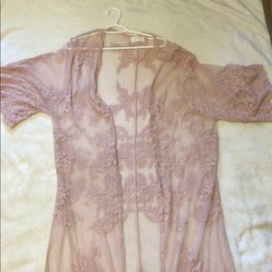 Light Pink lace cardigan made by Mustard Seed